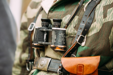 Close Up Of German Military Binoculars Of A German Soldier On Re-enactor Dressed