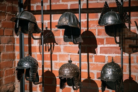 Different Ancient Medieval Helmets Of Knight Warriors Of Eastern Europe.