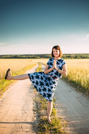 Funny Caucasian Young Adult Woman Girl Dressed In A Dress Is Fooled