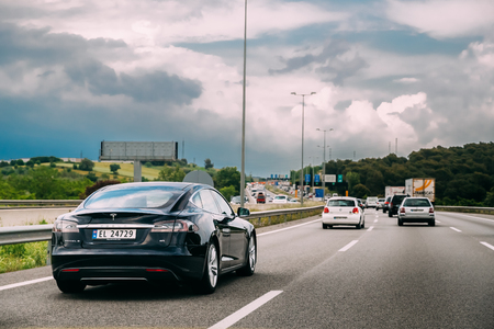 Tesla Model S 85 Car In Motion On Motorway Highway Freeway Road