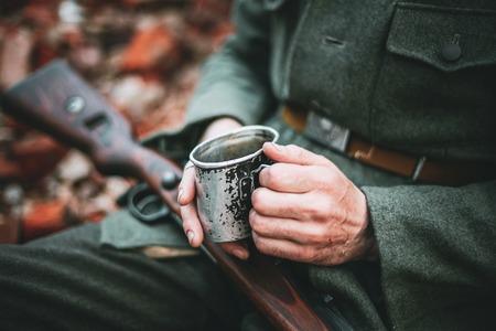Man Dressed As German Wehrmacht Infantry Soldier In World War II