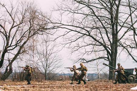 Russian Soviet Infantry Soldiers Of World War 2 WWII Shooting Ri