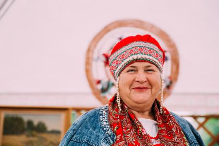 Woman In Ethnic Traditional Folks National Russian Costume Smili Banco de Imagens - 116658766