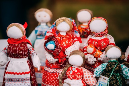 Russian Folk Doll. National Traditional Folk Dolls Are Popular S