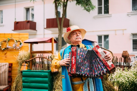 Man In Ethnic Traditional Folks National Belarusian Costume Play