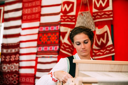 Woman In Ethnic Traditional Folks National Belorussian Dress Cos
