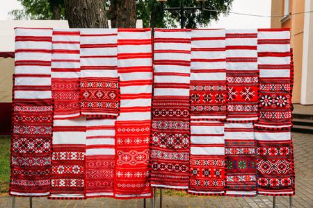 Linen Towels With Belorussian Ethnic National Folks Ornament On Banco de Imagens