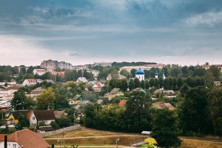 Mahiliou, Belarus. Mogilev Summer Cityscape With Famous Landmark