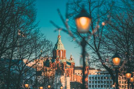 Helsinki, Finland. Uspenski Cathedral On Hill At Winter Morning.