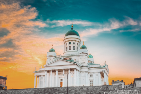 Helsinki, Finland. Lutheran Cathedral On Senate Square With At S Stock Photo