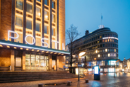 Helsinki, Finland. Post Office Building And Original Sokos Hotel