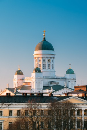 Helsinki, Finland. Lutheran Cathedral On Senate Square. Famous L