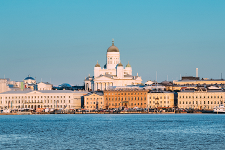 Finland, Helsinki. View Of Helsinki Cathedral In Winter Day. Fam Stock Photo