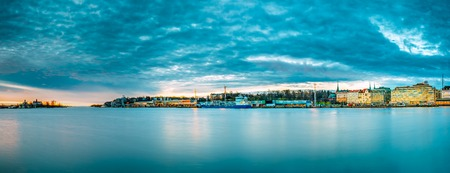 Helsinki, Finland. Panoramic Morning View Of Blekholmen Valkosaa