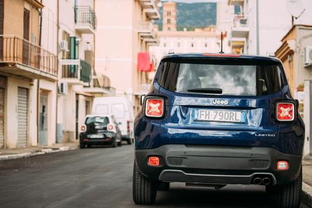 Terracina, Italy. Blue Jeep Renegade Bu 520 Car Parking At Street. Back View