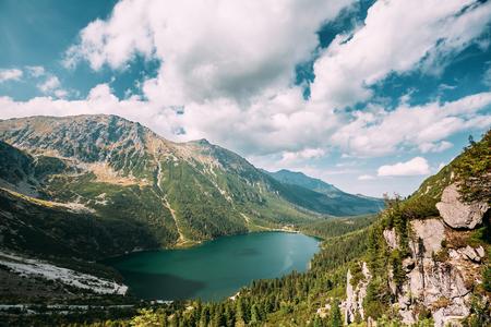 Tatra National Park, Poland. Famous Mountains Lake Morskie Oko Or Sea Eye Lake In Summer Day. Topw View Of Beautiful Tatras Lake Landscape In Polish Nature.