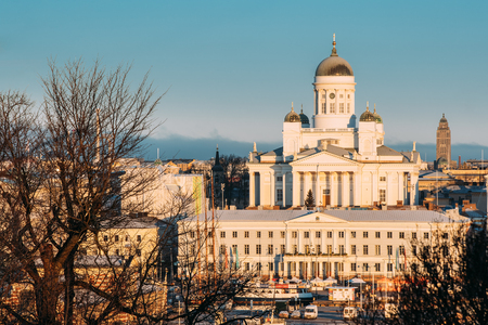 Finland, Helsinki. Top View Of Helsinki Cathedral And City Hall In Sunny Day. Famous Dome Landmark In Neoclassical Style