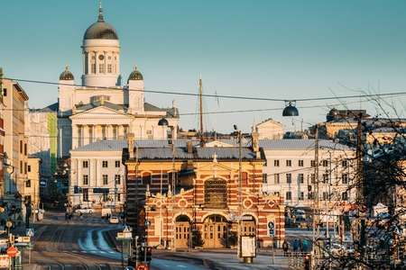 Finland, Helsinki. View Of Helsinki Cathedral And Old Market Hall Vanha Kauppahalli In Sunny Day. Famous Dome Landmark In Neoclassical Style