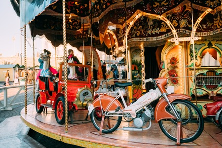 Helsinki, Finland. Christmas Holiday Carousel In Senate Square In Sunny Winter Day Stock Photo - 124126183