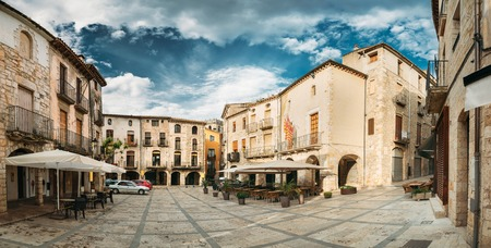 Besalu, Girona, Spain. Old Freedom Square Or Placa De La Llibertat In Sunny Summer Day