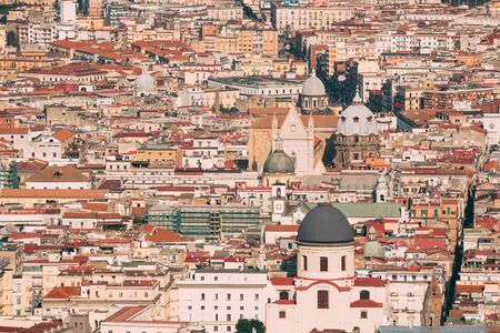 Naples, Italy. Top View Cityscape Skyline With Famous Landmarks In Sunny Day. Many Old Churches And Temples