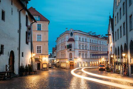 Tallinn, Estonia. Evening View Of Old Restaurant, Intersection Of Vene And Viru Streets In Night Illuminations