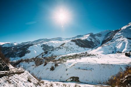 Zemo Mleta, Mtskheta-Mtianeti Region, Georgia. Village Zemo Mleta During Sunny Winter Day. Beautiful Georgian Mountains Landscape In Winter