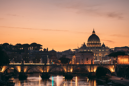 Rome, Italy. Papal Basilica Of St. Peter In The Vatican And Aelian Bridge In Sunset Sunrise Time