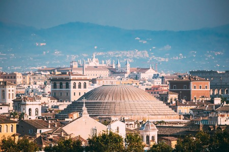 Rome, Italy. Sloping Roof Of Pantheon And Cityscape Of Town Stock Photo