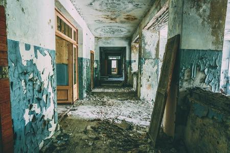 Dilapidated passage in school of Pripyat. Chernobyl Disaster Banco de Imagens