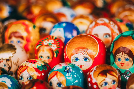 Colorful Russian Nesting Dolls Matreshka At Market. Matrioshka Babushka Nesting Dolls Are Most Popular Souvenirs From Russia