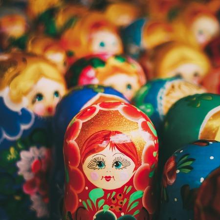 Colorful Russian nesting dolls at the market Banco de Imagens