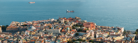 Naples, Italy. Top View Cityscape Skyline With Famous Landmarks And Part Of Gulf Of Naples In Sunny Day. Many Old Churches And Temples