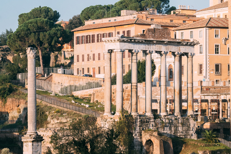 Rome, Italy. Column Of Phocas And The Temple Of Saturn. Colonna Di Foca And Tempio Di Saturno. The Historic Centre Of Rome