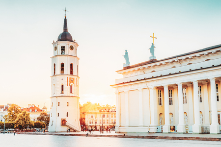 Vilnius Lithuania. Cathedral Square With Bell Tower, Cathedral Basilica In Summer Sunset, Sunbeam