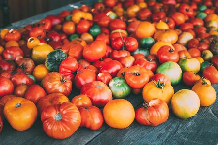 Colorful Organic Tomatoes On Local Farmers Grocery Market