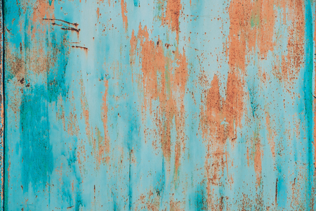 Old Grunge Rusty Metal Metallic Colored Background. Colorful Blue And Orange Abstract Metallic Surface