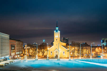 Tallinn, Estonia - December 4, 2016: Church Of St. John Jaani Kirik At Night Time. Large Lutheran Parish Church In Tallinn Dedicated To St. John The Evangelist, Disciple Of Jesus Christ