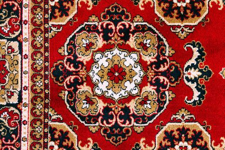 Red Asian Oriental Carpet Texture Background