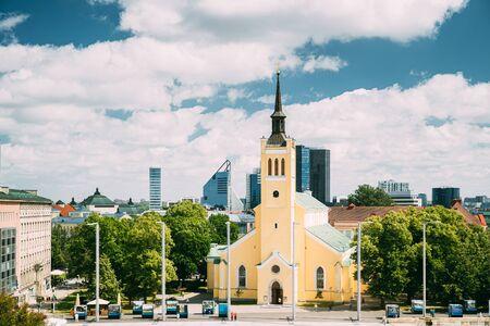 Tallinn, Estonia. Church Of St. John Jaani Kirik At Sunny Summer Day. Large Lutheran Parish Church In Tallinn Dedicated To St. John The Evangelist, Disciple Of Jesus Christ