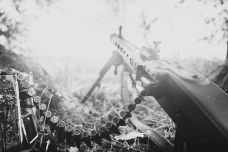 World War II German Wehrmacht Infantry Soldier Army Weapon. MG 42 Machine Gun On Ground In Forest Trench. WWII WW2 German Ammunition.