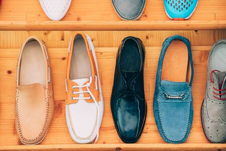 Close View Of Fashion Casual Colorful Shoes In Store Of Shopping Center. Stockfoto