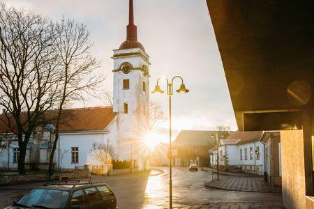 Kuressaare, Estonia. Kuressaare St. Lawrence Church In Sunlight Sunrise Or Sunset Time.