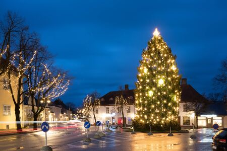 Kuressaare, Estonia. Christmas Tree In Evening Night Christmas Xmas Festive Illuminations.