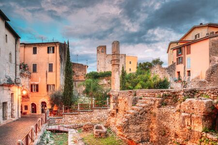 Terracina, Italy. Monumental Complex Of The Emiliano Forum In Evening Time.