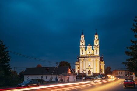 Hlybokaye Or Glubokoye, Vitebsk Region, Belarus. Church Of Sts. Trinity In Evening Night Lighting. Night View Stock fotó