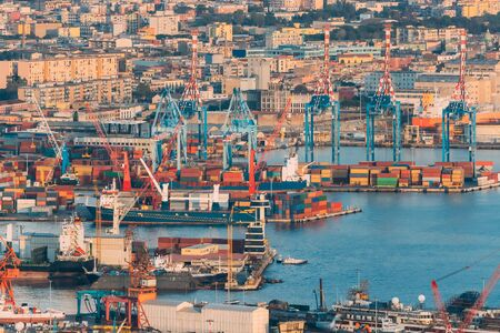 Naples, Italy. Top View Of Container Terminal In Port Of Naples.