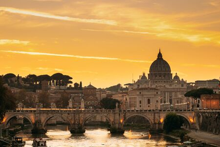 Rome, Italy. Papal Basilica Of St. Peter In The Vatican And Aelian Bridge In Sunset Sunrise Time Archivio Fotografico