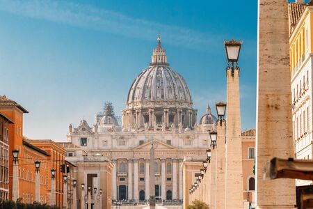 Rome, Italy. St. Peters Square With Papal Basilica Of St. Peter In The Vatican Stock Photo