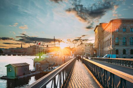 Stockholm, Sweden. Skeppsholmsbron - Skeppsholm Bridge. Famous Popular Place Landmark Destination. Scandinavia Travel.